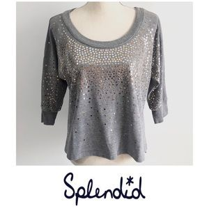 Splendid Sequin Batwing Gray Sweatshirt